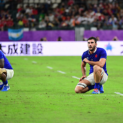 (R-L) Charles OLLIVON of France and Viri VAKATAWA of France during the Rugby World Cup 2019 Quarter Final match between Wales and France on October 20, 2019 in Oita, Japan. (Photo by Dave Winter/Icon Sport) - Oita Stadium - Oita (Japon)