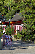 Tourists dressed in traditional kimono at Yasaka Shrine. Yasaka Shrine, formerly known as Gion Shrine, is a Shinto Shrine in Kyoto. Dating back to 656, the shrine attracts large crowds during new year and cherry blossom seasons, as well as being a key stop for tourists.