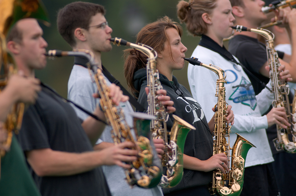 Marching Band practicing in Pruitt Field close ups of Jonathan Plova, Alyssa Mehling 9/01/06
