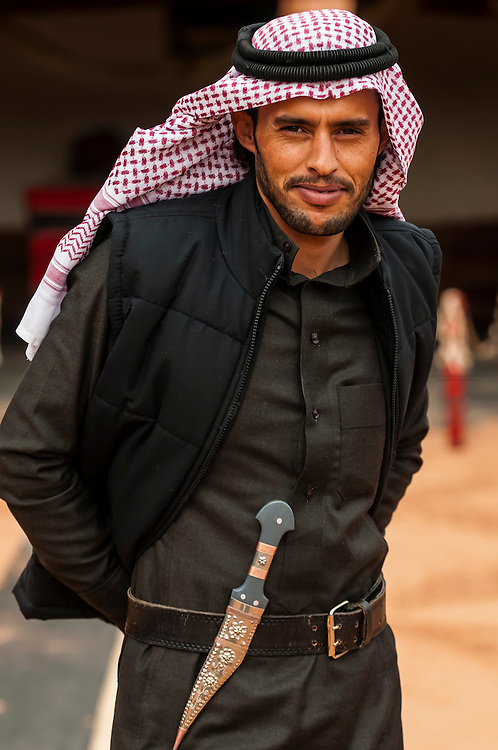 Bedouin man with a dagger on his belt, Captain's Desert Camp, Wadi Rum (in the Arabian Desert), Jordan