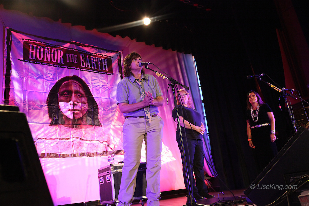 Amy Ray and Emily Saliers of The Indigo Girls, and Winona LaDuke on stage at Town Hall, Provincetown, MA August 15, 2012.
