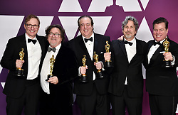 Jim Burke, Charles B. Wessler, Nick Vallelonga, Peter Farrelly, and Brian Currie, winners of Best Picture for Green Book in the press room at the 91st Academy Awards held at the Dolby Theatre in Hollywood, Los Angeles, USA.