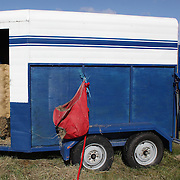 A horse trailer with a bale of hay at the Wakatipu One Day Horse Trials,  Queenstown, Otago, New Zealand. 15th January 2012. Photo Tim Clayton