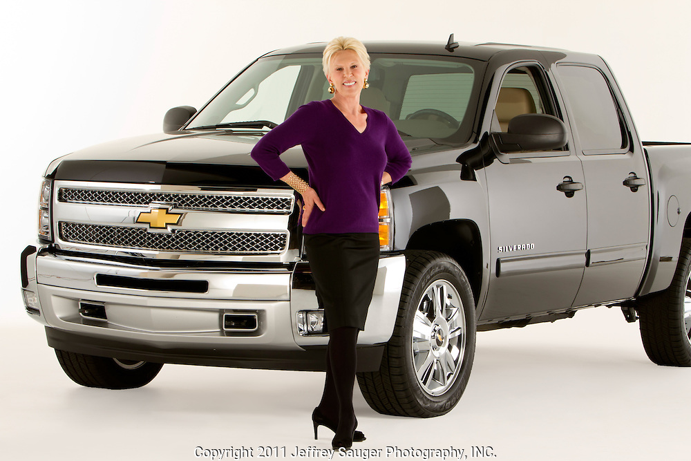 ROYAL OAK, MICHIGAN - OCTOBER 12: Dannielle Hudler, who became the first female advertising department head in the automobile industry when she became Chevy advertising chief in 1985, poses with a Chevy Silverado pickup truck in Royal Oak, MI, Wednesday, October 12, 2011.  (Jeffrey Sauger)