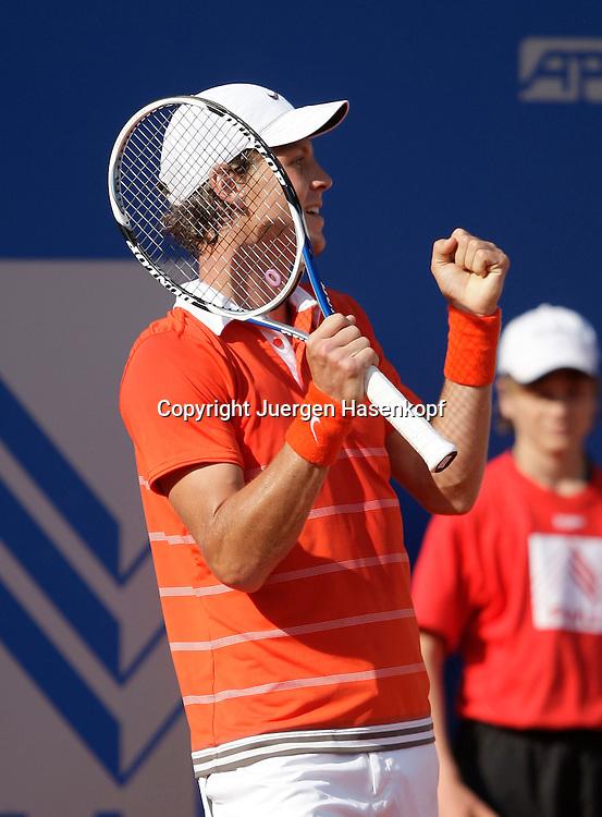 BMW Open 2009, Muenchen, Sport, Tennis,  International Series ATP  Tournament,  Tomas Berdych (CZE) macht die Faust und jubelt nach seinem Halbfinal Sieg,Aktion..Foto: Juergen Hasenkopf
