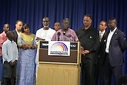 September 19, 2012- New York, New York:  Rev. Jesse Jackson (pictured) of The Rainbow PUSH Coalition has once again secured the release of 2 U.S. Citizens held as prisoners in the Gambia in Africa. Former Prisoner Amadou Scattred Janneh, a former Professor at the University of Tennessee, who held dual US Citizenship with the Gambia, was serving a life sentence for Treason. In addition to him, Tamsir Jessah, a U.S Citizen and former U.S. Military Veteran with dual citizenship with the West African nation was also serving a twenty-year sentence for Treason. With a face-to-face appeal by Rev. Jesse L. Jackson, with the Yayha Jammeh, President of The Gambia an agreement was made to release the two American citizens into Rev. Jackson's custody who allow them to return to the United States with Jackson Tuesday night.  The two men returned to the U.S. by plane with Rev. Jackson from The Gambia to joyfully grateful waiting family members. In addition, President Jammeh has agreed to extend the moritorium on executions indefinitely, marking a significant gain for Human Rights in the West African Nation. (Terrence Jennings)