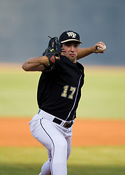 Garrett Bullock (17)delivers a pitch for Wake Forest.  The #16 ranked Virginia Cavaliers baseball team defeated the Wake Forest Demon Decons 4-2 at the University of Virginia's Davenport Field in Charlottesville, VA on April 18, 2008.