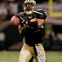 2009 November 30:  New Orleans Saints safety Darren Sharper (42) celebrates after a fourth quarter interception during a 38-17 win by the New Orleans Saints over the New England Patriots at the Louisiana Superdome in New Orleans, Louisiana.