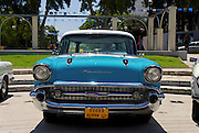 Vintage car Blue 1957 Chevrolet station wagon 210 front view