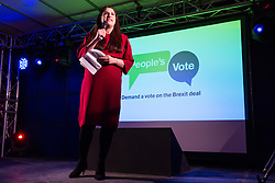 London, UK. 15th January, 2019. Luciana Berger, Labour MP for Liverpool Wavertree, addresses pro-EU activists attending a People's Vote rally in Parliament Square as MPs vote in the House of Commons on Prime Minister Theresa May's proposed final Brexit withdrawal agreement.