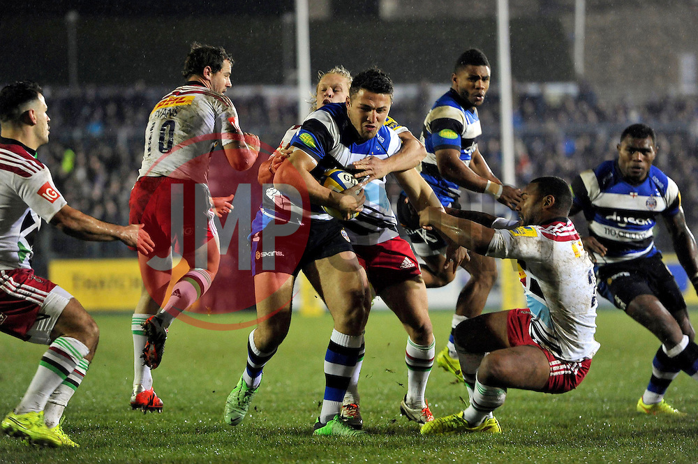 Sam Burgess of Bath Rugby takes on the Harlequins defence - Photo mandatory by-line: Patrick Khachfe/JMP - Mobile: 07966 386802 28/11/2014 - SPORT - RUGBY UNION - Bath - The Recreation Ground - Bath Rugby v Harlequins - Aviva Premiership