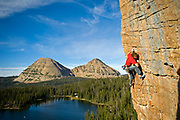 Jay Keener on Guillotine 5.10b, Scout Lake, Uintas, UT