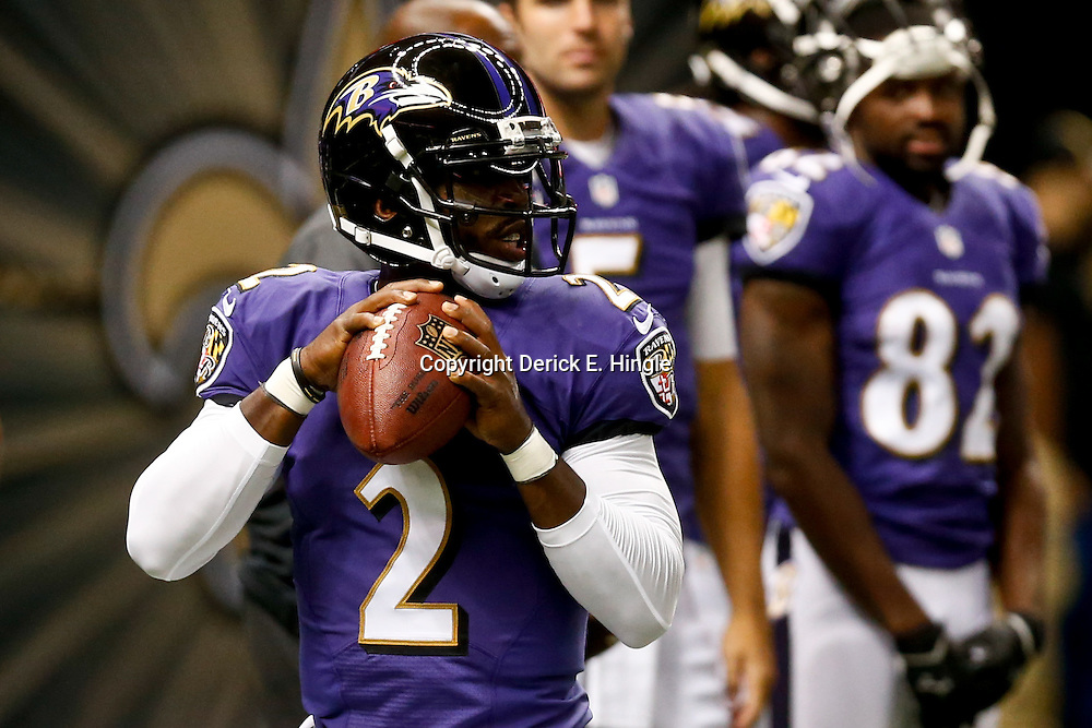 Aug 28, 2014; New Orleans, LA, USA;Baltimore Ravens quarterback Tyrod Taylor (2) before a preseason game against the New Orleans Saints at Mercedes-Benz Superdome. Mandatory Credit: Derick E. Hingle-USA TODAY Sports