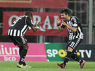 Portugal, FUNCHAL : Nacional´s Angolan forward Mateus (L )  celebrates with Nacional´s Portuguese forward Candeias after scoring during the Portuguese league football match Nacional vs Benfica at Madeira Stadium in Funchal on February 10, 2013. PHOTO/ GREGORIO CUNHA.