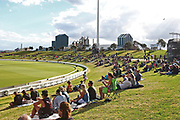 General view of the main embankment at Bay Oval during the Burger King Super Smash Twenty20 cricket match Knights v Stags played at Bay Oval, Mount Maunganui, New Zealand on Wednesday 27 December 2017.<br /> <br /> Copyright photo: &copy; Bruce Lim / www.photosport.nz
