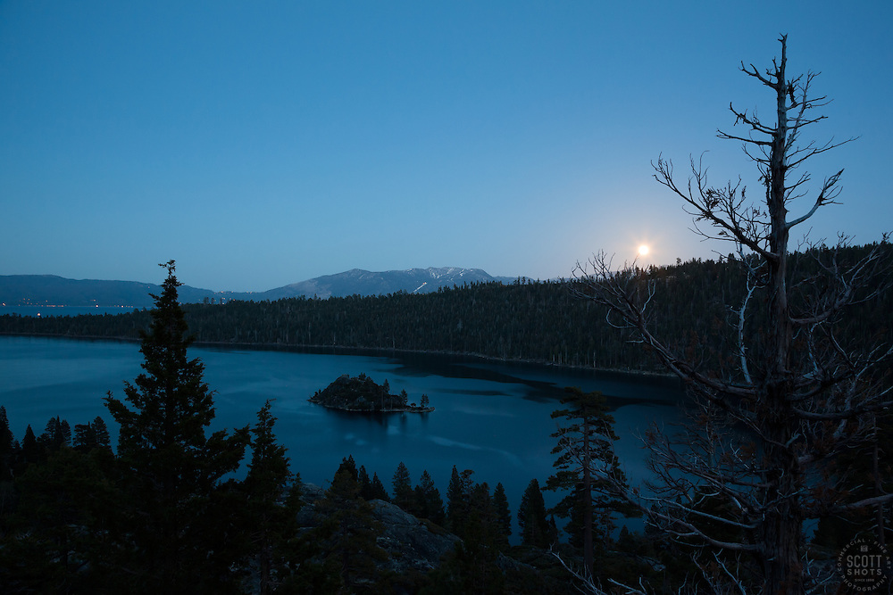 """Full Moon over Emerald Bay"" - This full ""supermoon"" was photographed rising at dusk above Emerald Bay, Lake Tahoe."