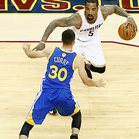 10 June 2016: Golden State Warriors guard Stephen Curry (30) defends on Cleveland Cavaliers guard J.R. Smith (5) during the Golden State Warriors 108-97 victory over the Cleveland Cavaliers, during Game Four of the 2016 NBA Finals at the Quicken Loans Arena, Cleveland, Ohio, USA.