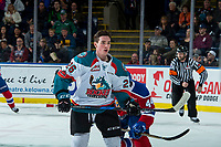KELOWNA, CANADA - FEBRUARY 17: Liam Kindree #26 of the Kelowna Rockets skates to the bench after losing his helmet against the Edmonton Oil Kings on February 17, 2018 at Prospera Place in Kelowna, British Columbia, Canada.  (Photo by Marissa Baecker/Shoot the Breeze)  *** Local Caption ***