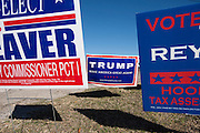 A Donald Trump sign on display outside a polling station on March 1, 2016 in Granbury, Texas.  (Cooper Neill for The New York Times)