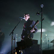 FAIRFAX, VA - March 24th, 2013 -  Georg Hólm (left) and Jonsi  (middle) of Sigur Ros performs at the Patriot Center in Fairfax, VA on the opening date of their 2013 North American tour.  The band will hit 15 cities in North America touring behind their 2012 album, Valtari. (Photo by Kyle Gustafson/For The Washington Post)