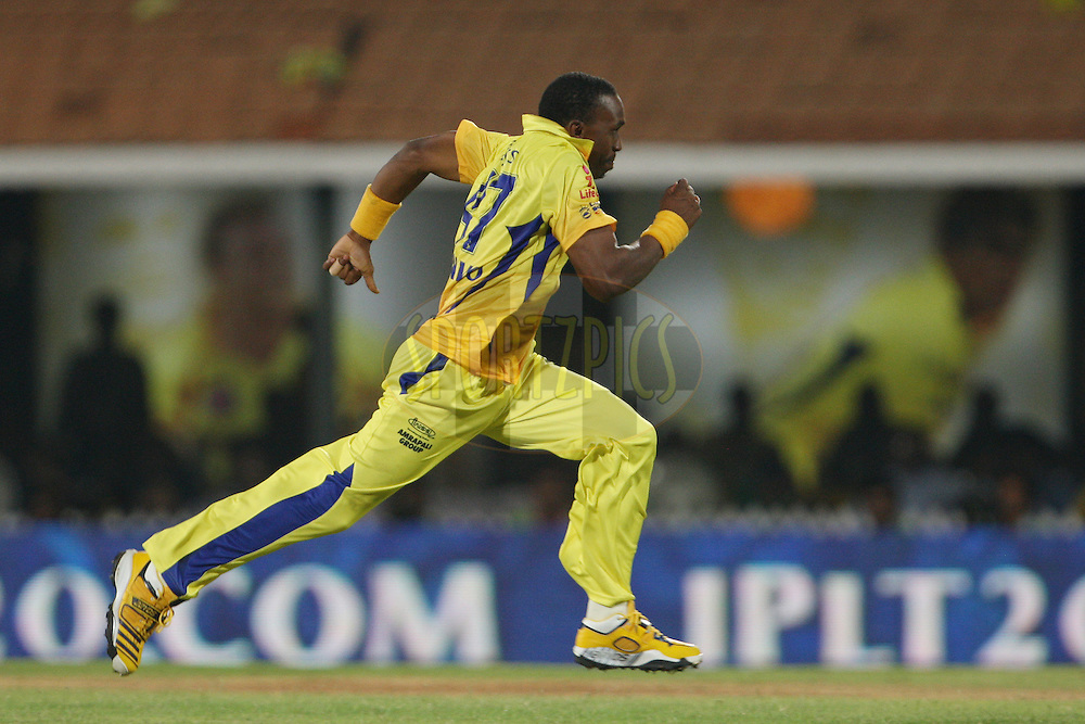 Dwayne Bravo chases after a ball off his own bowling during match 24 of the the Indian Premier League ( IPL) 2012  between The Chennai Superkings and the Pune Warriors India held at the M. A. Chidambaram Stadium, Chennai on the 19th April 2012..Photo by Jacques Rossouw/IPL/SPORTZPICS