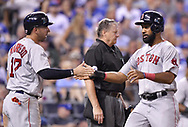 June 20, 2017 - Kansas City, MO, USA - The Boston Red Sox's Deven Marrero (17) and Chris Young celebrate after both scored on a single by Xander Bogaerts in the sixth inning against the Kansas City Royals at Kauffman Stadium in Kansas City, Mo., on Tuesday, June 20, 2017. (Credit Image: © John Sleezer/TNS via ZUMA Wire)