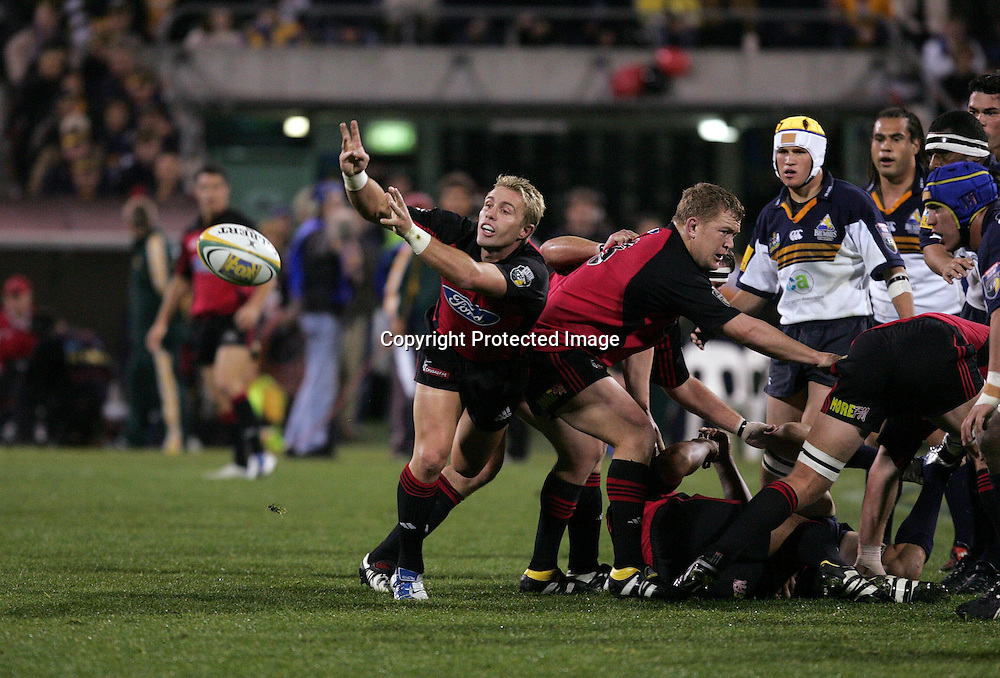 22 May, 2004. Super 12 Final, Canberra Stadium, Canberra ACT, Australia.<br /> Justin Marshall.<br /> The Brumbies defeated the Crusaders  48-37<br /> Please credit: Andrew Cornaga/Photosport
