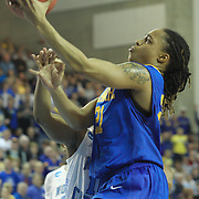 Delaware Guard Trumae Lucas (21) penetrate the lane in the second half of a 2013 Round Two Women's NCAA tournament game against No. 3 North Carolina Tuesday, March 26, 2013, at the Bob Carpenter Center in Newark Delaware.