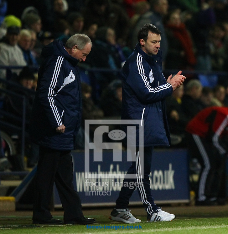 Picture by John Rainford/Focus Images Ltd +44 7506 538356.02/04/2013.Dougie Freedman, manager of Bolton Wanderers with his number two, Lennie Lawrence during the npower Championship match at the Reebok Stadium, Bolton.