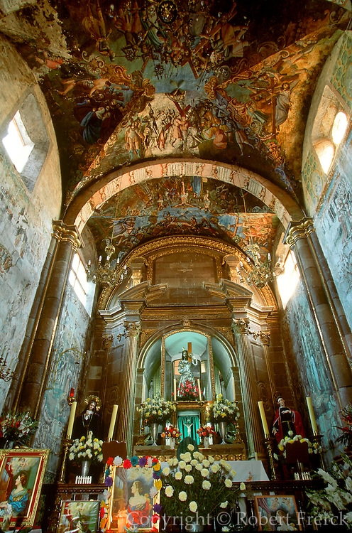 MEXICO, COLONIAL CITIES Atotonilco Sanctuary near San Miguel de Allende, 1810, revolutionary site, interior with religous folk murals