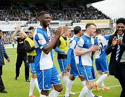 Bristol Rovers' Nathan Blissett celebrates with team mates after the final whistle is blown. - Photo mandatory by-line: Nizaam Jones /JMP - Mobile: 07966 386802 - 03/05/2015 - SPORT - Football - Bristol - Memorial Stadium - Bristol Rovers v Forest Green Rovers - Vanarama Football Conference.