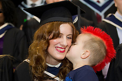 Repro Free: 09/11/2012 Bachelor of Business graduate Nienke Stevens from Finglas gets a big kiss from son Coen (4) at the Institute of Technology Blanchardstown (ITB) conferring ceremony. ITB (Institute of Technology Blanchardstown) were delighted to welcome 653 students back on campus to graduate from their full, part-time and on-line courses an increase of 100 students on 2011's graduation.  Courses graduating today include; Computing, Electronic & Computer Engineering, Mechatronic Engineering, Sustainable Electrical & Control Technology, Horticulture, Business, International Business and Applied Social Studies in Social Care.  Pic Andres Poveda..For further information please contact : Ann-Marie Sheehan, Aspire PR Tel : 01 827 5181 / 087 298 5569 or email annmarie@aspire-pr.com