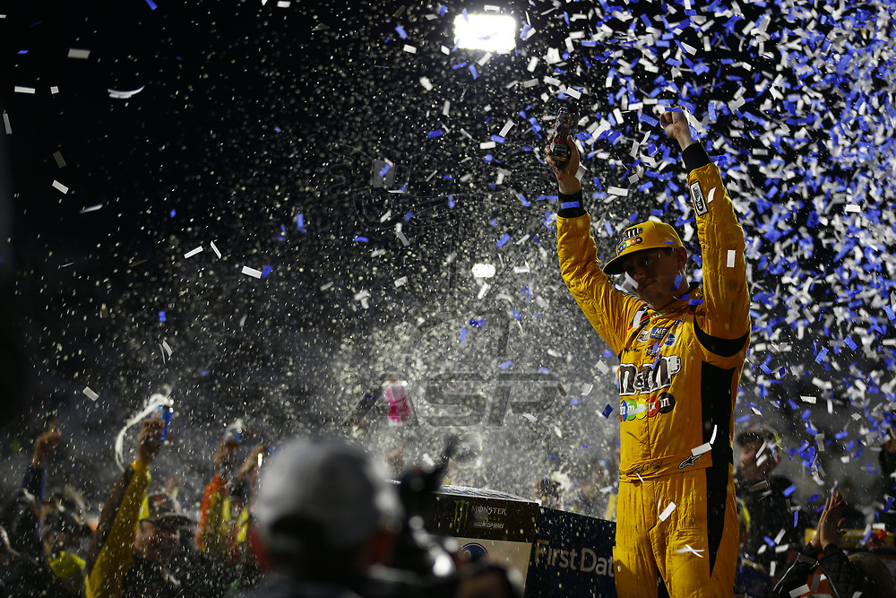 October 29, 2017 - Martinsville, Virginia, USA: Kyle Busch (18) wins the First Data 500 at Martinsville Speedway in Martinsville, Virginia.