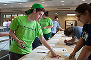 David Sebo helps student register to volunteer to get swabbed at the Got Swabbed event in the Baker Center at Ohio University on Tuesday, October 15, 2013. Photo by Chris Franz