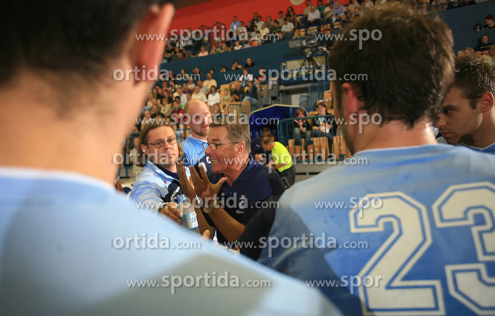 Head coach Miro Pozun at  handball game between men national teams of Slovenia and Slovakia, first qualification game for the World Chamionship 2009, on June 7, 2008, in Arena Zlatorog, Celje, Slovenija. Result: 33 : 33. (Photo by Vid Ponikvar / Sportal Images)