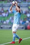 MELBOURNE, VICTORIA - JANUARY 06: Melbourne City defender Scott Jamieson (3) throws in the ball at the Hyundai A-League Round 11 soccer match between Melbourne City FC and Newcastle Jets on at AAMI Park in NSW, Australia 06 January 2019. (Photo by Speed Media/Icon Sportswire)