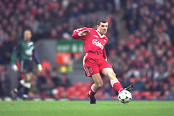 LIVERPOOL, ENGLAND - Saturday, January 6, 1996: Liverpool's Steve Harkness in action against Rochdale during the FA Cup 3rd Round match at Anfield. (Photo by David Rawcliffe/Propaganda)