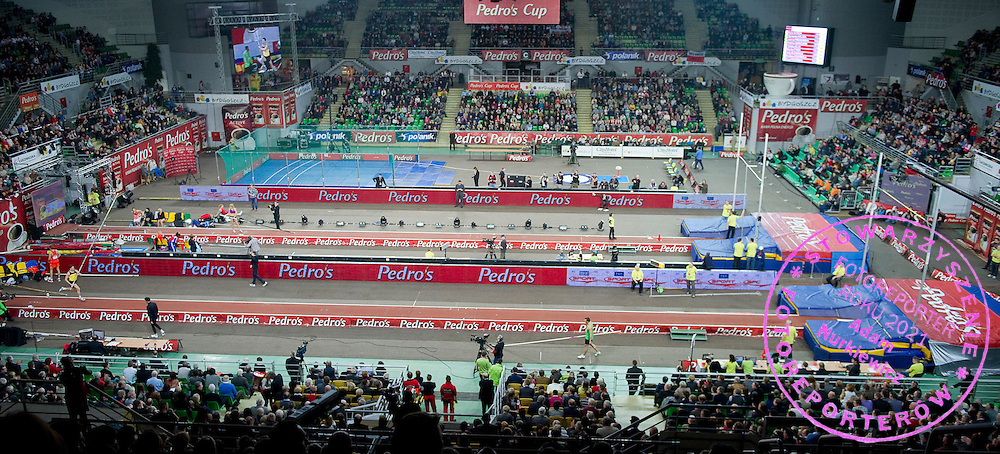 General view on the hall during indoor athletics meeting Pedro's Cup 2012 at Luczniczka Hall in Bydgoszcz, Poland.<br /> <br /> Poland, Bydgoszcz, February 8, 2012.<br /> <br /> Picture also available in RAW (NEF) or TIFF format on special request.<br /> <br /> For editorial use only. Any commercial or promotional use requires permission.<br /> <br /> Mandatory credit:<br /> Photo by &copy; Adam Nurkiewicz / Mediasport