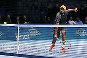 Raven Klassen (South Africa) returns with a backhand volley during the final of the Barclays ATP World Tour Finals at the O2 Arena, London, United Kingdom on 20 November 2016. Photo by Phil Duncan.