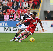 Aberdeen&rsquo;s Shay Logan and Dundee's Kevin Holt - Aberdeen v Dundee at Pittodrie<br />