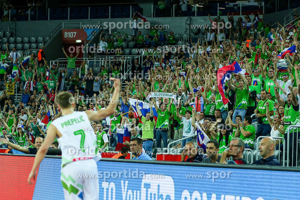 The rejoicing of Klemen Prepelic of Slovenia during basketball match between Slovenia vs Netherlands at Day 4 in Group C of FIBA Europe Eurobasket 2015, on September 8, 2015, in Arena Zagreb, Croatia. Photo by Matic Klansek Velej / Sportida