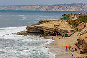 La Jolla Cove is a small, picturesque cove and beach that is surrounded by cliffs in La Jolla, San Diego, California, USA. The Cove is protected as part of a marine reserve; underwater it is very rich in marine life, and is popular with snorkelers, swimmers and scuba divers.