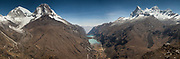 Panorama of peaks of Cordillera Blanca, L to R: two summits of Huascaran and four summits of Huandoy, Yanganuco valley between, Andes mountains, Peru