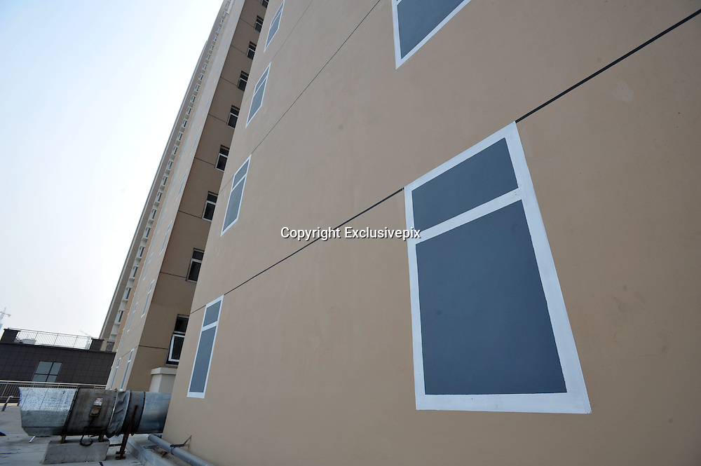 QINGDAO, CHINA - OCTOBER 23: (CHINA OUT - FINLAND OUT) <br /> <br /> Fake windows are painted on the north side wall of a Economical Housing by developer on October 23, 2013 in Qingdao, Shandong province of China. Economical Housings are sold at low prices to low-income earners to get them affordable shelters. Netizens in China tease that even though the buildings are economical housings, the windows should not be like that. Given that the properties are affordable, painted windows probably show developers cost-saving intention. <br /> ©Exclusivepix
