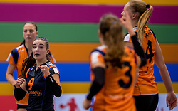 22-10-2016 NED: TT Papendal/Arnhem - Coolen Alterno, Arnhem<br /> Alterno heeft haar eerste overwinning binnen in de eredivisie. Na twee nederlagen schreef de Apeldoornse ploeg zaterdagmiddag in Valkenhuizen een 0-3 zege bij / Susanne Kos #9 of Talent Team