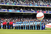 The England team stand for the national anthems ahead of the ICC Cricket World Cup 2019 Final match between New Zealand and England at Lord's Cricket Ground, St John's Wood, United Kingdom on 14 July 2019.