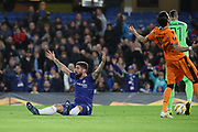 Olivier Giroud of Chelsea (18) appealing after being fouled during the Champions League group stage match between Chelsea and PAOK Salonica at Stamford Bridge, London, England on 29 November 2018.