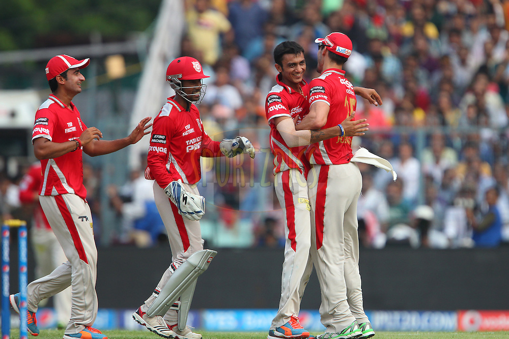 Akshar Patel of the Kings X1 Punjab celebrates the wicket of Manish Pandey of the Kolkata Knight Riders during the first qualifier match (QF1) of the Pepsi Indian Premier League Season 2014 between the Kings XI Punjab and the Kolkata Knight Riders held at the Eden Gardens Cricket Stadium, Kolkata, India on the 28th May  2014<br /> <br /> Photo by Ron Gaunt / IPL / SPORTZPICS<br /> <br /> <br /> <br /> Image use subject to terms and conditions which can be found here:  http://sportzpics.photoshelter.com/gallery/Pepsi-IPL-Image-terms-and-conditions/G00004VW1IVJ.gB0/C0000TScjhBM6ikg