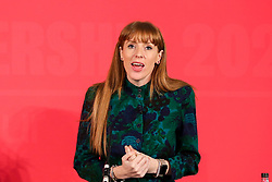 © Licensed to London News Pictures. 16/02/2020. London, UK. Labour Party deputy leadership candidate ANGELA RAYNER MP for Ashton-under-Lyne speaks at a hustings event hosted by the Co-operative Party held at Business Design Centre, north London. Photo credit: Dinendra Haria/LNP