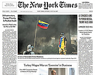 """A Lens on Venezuela's Furious Resistance"" - Meridith Kohut. July 23, 2017. The New York Times. A1."